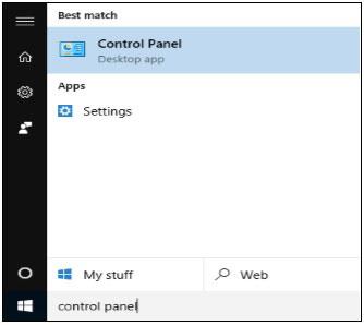 انتخاب گزینه Control Panel