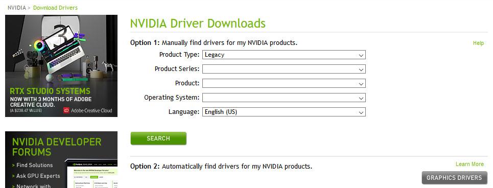 سایت رسمی nvidia برای دانلود درایور
